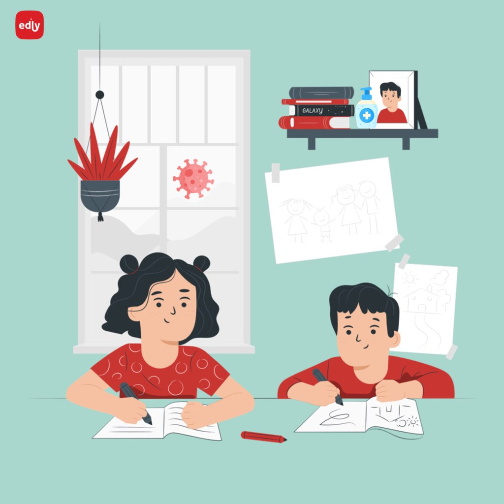 Kids studying remotely through eLearning